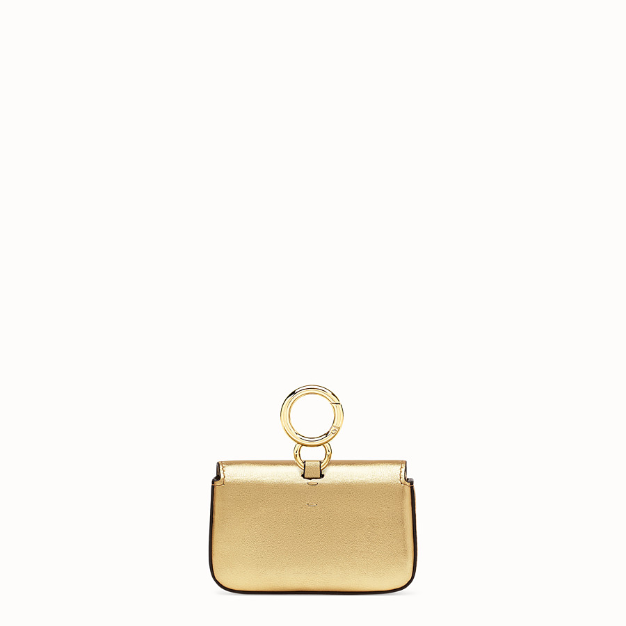 FENDI NANO BAGUETTE - Charm in golden leather - view 4 detail