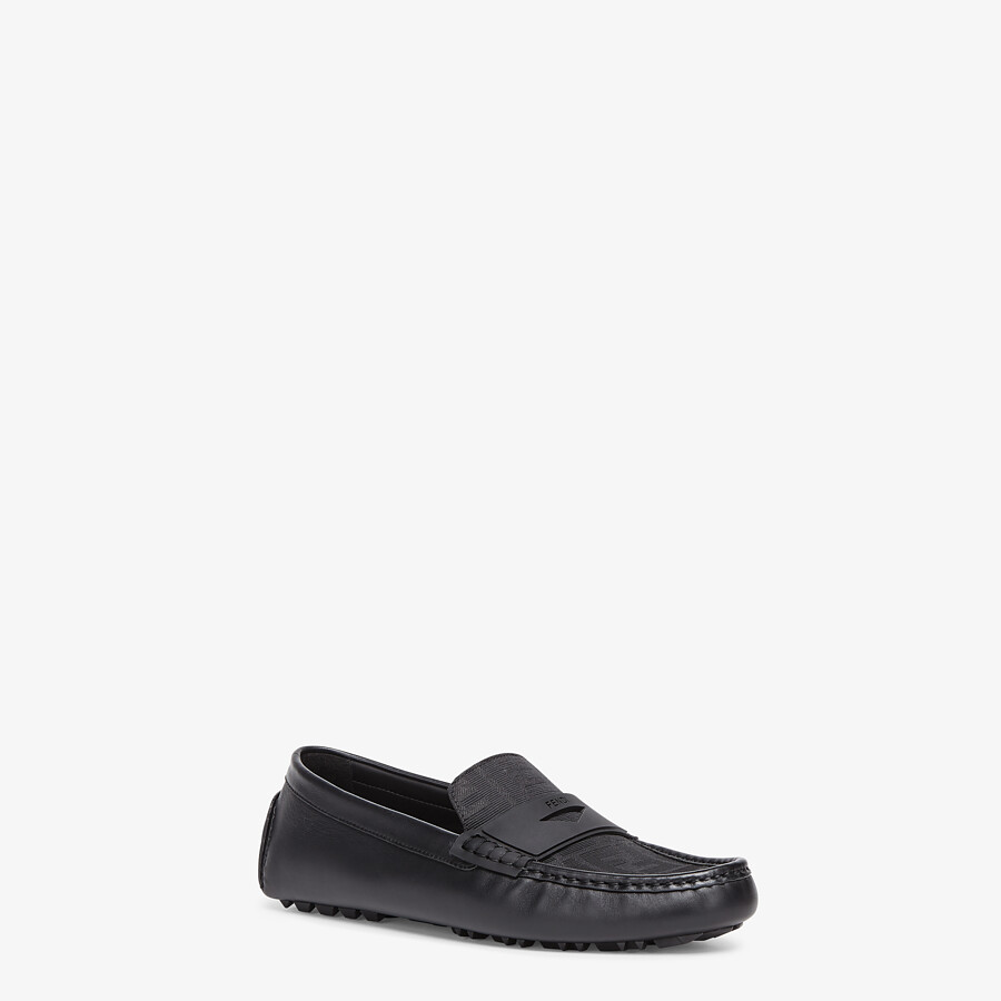 FENDI FF DRIVERS - Black leather driver loafers - view 2 detail