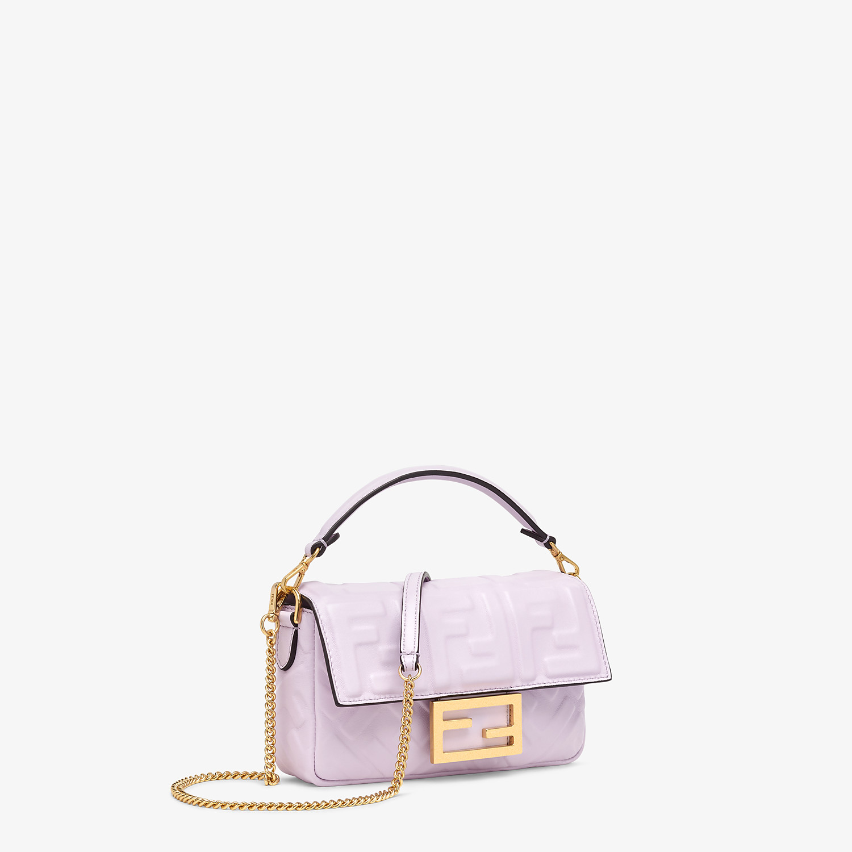 FENDI BAGUETTE - Lilac nappa leather FF Signature bag - view 3 detail