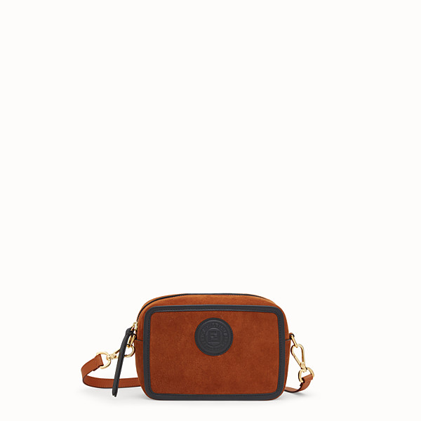 FENDI MINI CAMERA CASE - Tasche aus Veloursleder in Naturbraun - view 1 small thumbnail