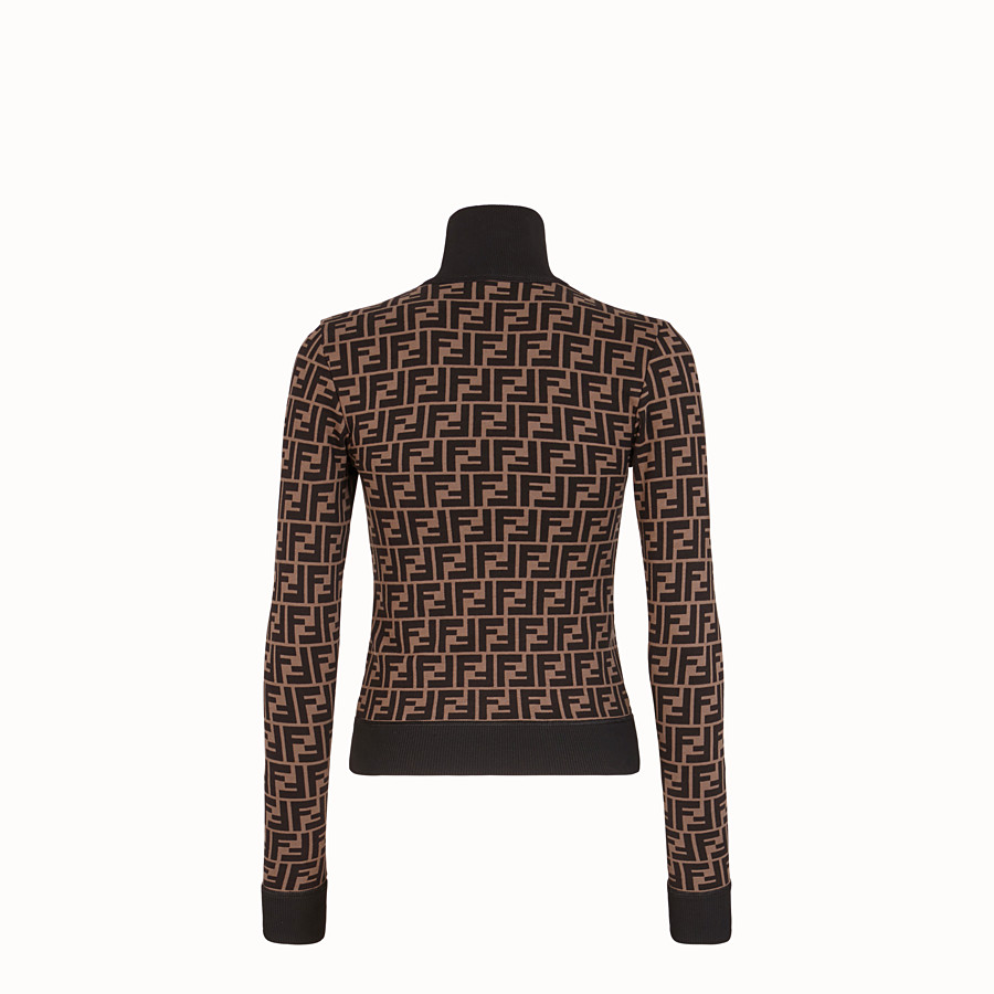 FENDI SWEATSHIRT - Brown cotton jersey sweatshirt - view 2 detail