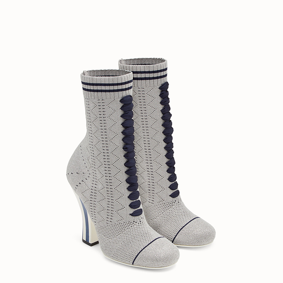 FENDI BOOTS - Grey fabric boots - view 4 detail