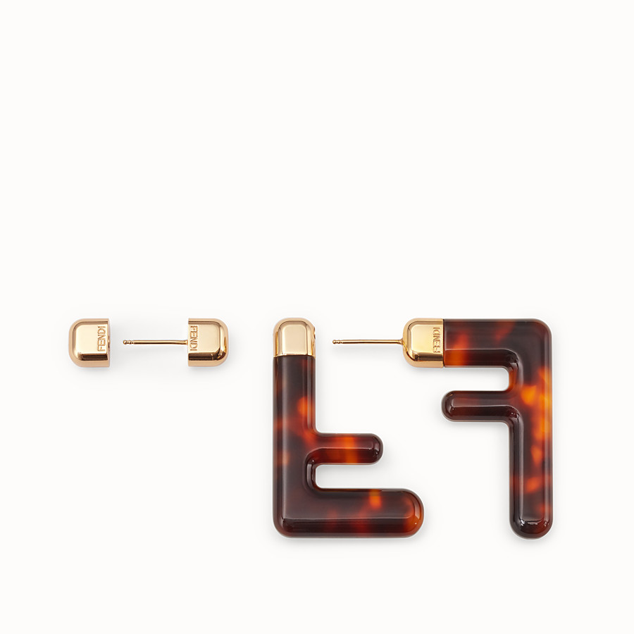 FENDI FF EARRINGS SMALL - Brown plexi earrings - view 3 detail