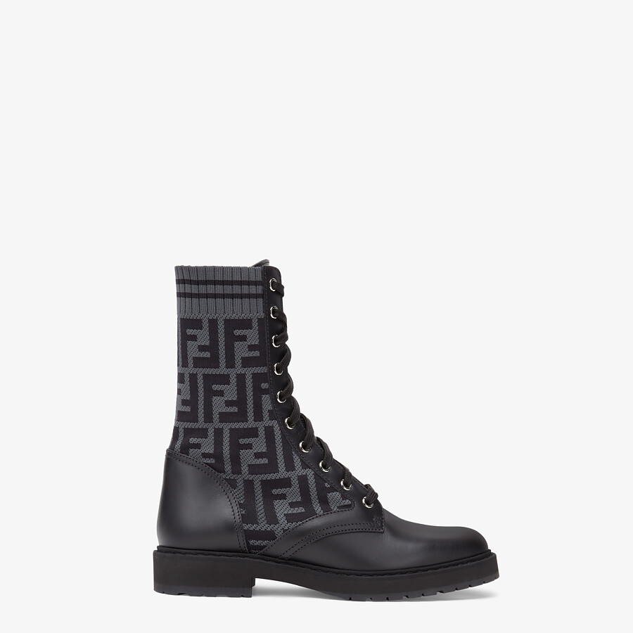 FENDI BIKER BOOTS - Black leather biker boots - view 1 detail