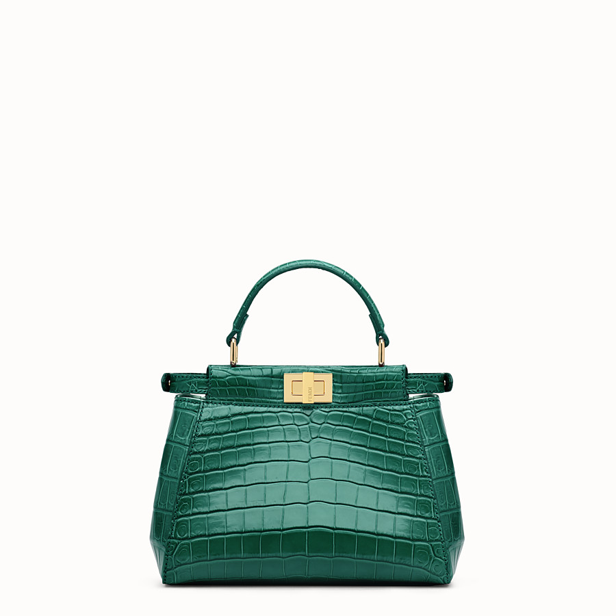 FENDI PEEKABOO MINI - Green crocodile leather handbag. - view 3 detail