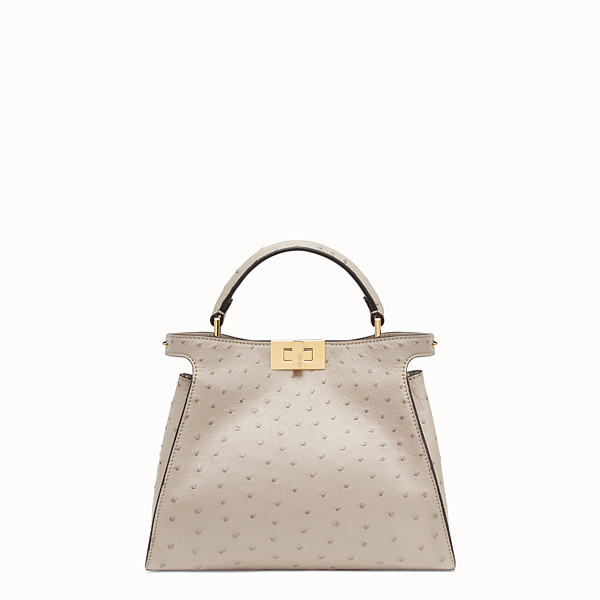 FENDI PEEKABOO ICONIC ESSENTIALLY - Grey ostrich leather bag - view 1 small thumbnail