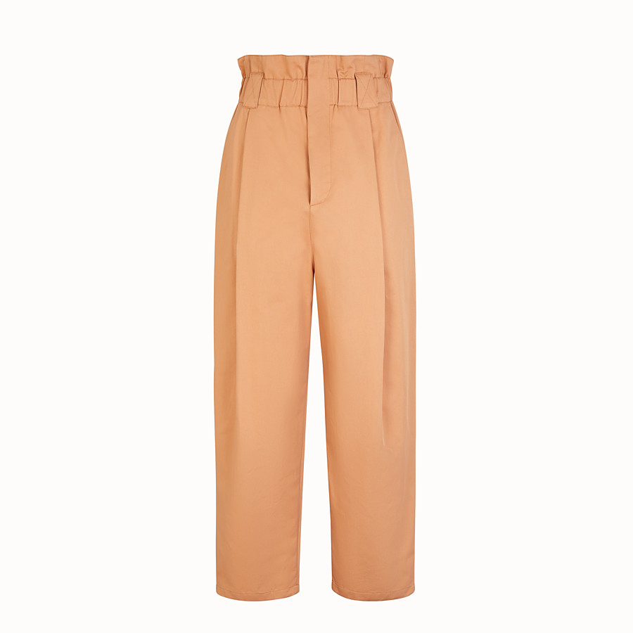 FENDI TROUSERS - Beige gabardine trousers - view 1 detail