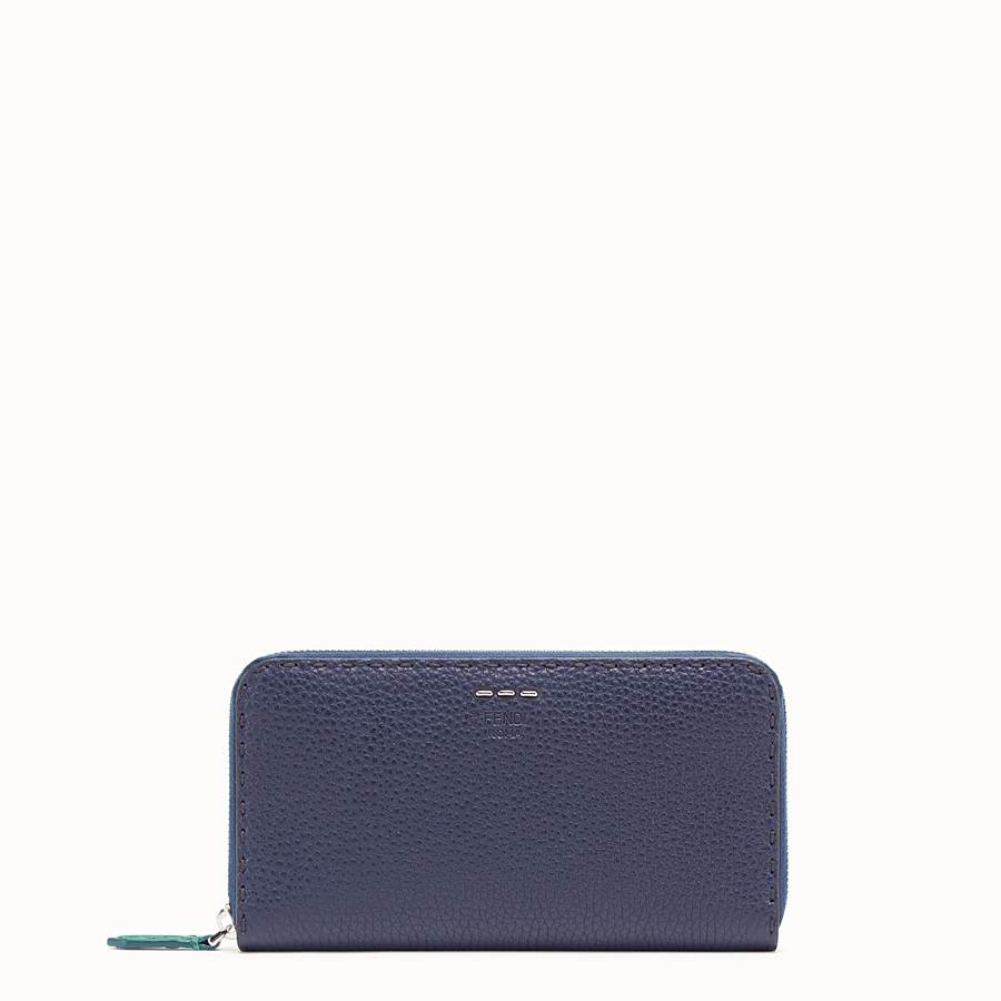 FENDI ZIP-AROUND - Blue leather wallet - view 1 detail