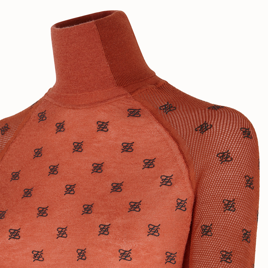 FENDI PULLOVER - Brown silk and wool jumper - view 3 detail