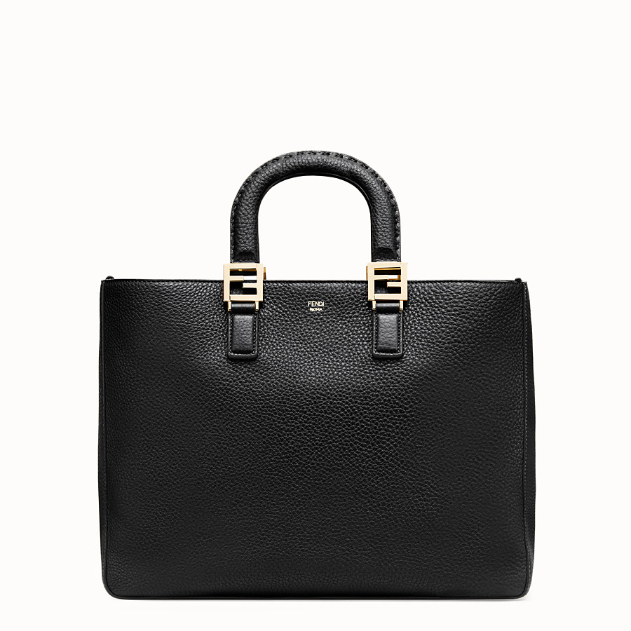 FENDI FF TOTE MEDIUM - Black leather bag - view 1 detail