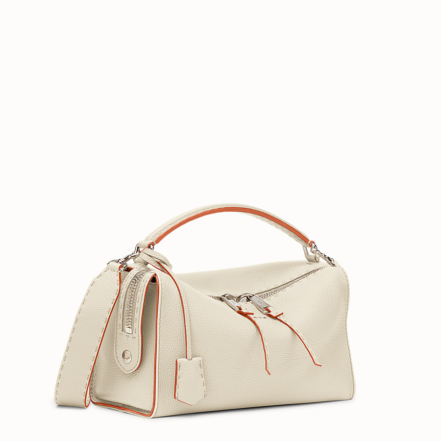 FENDI LEI SELLERIA BAG - white Roman leather Boston bag - view 2 detail
