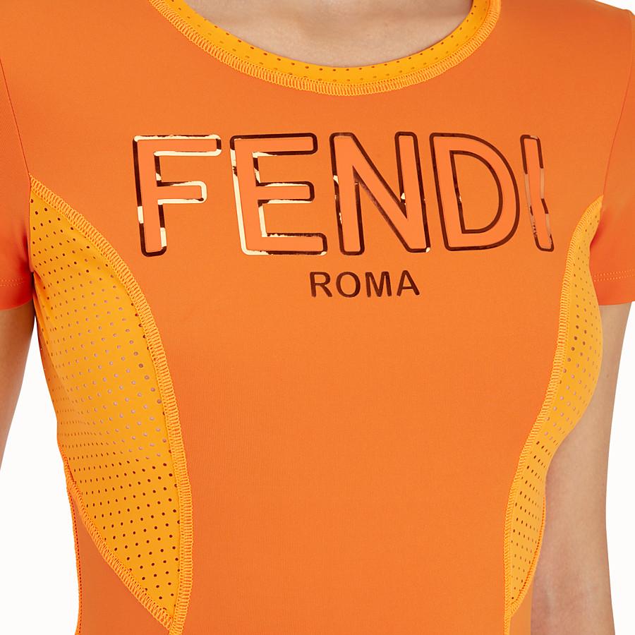 FENDI 티셔츠 - 오렌지 컬러의 테크니컬 패브릭 티셔츠 - view 4 detail