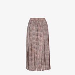 FENDI SKIRT - Skirt in pink and brown silk - view 2 thumbnail