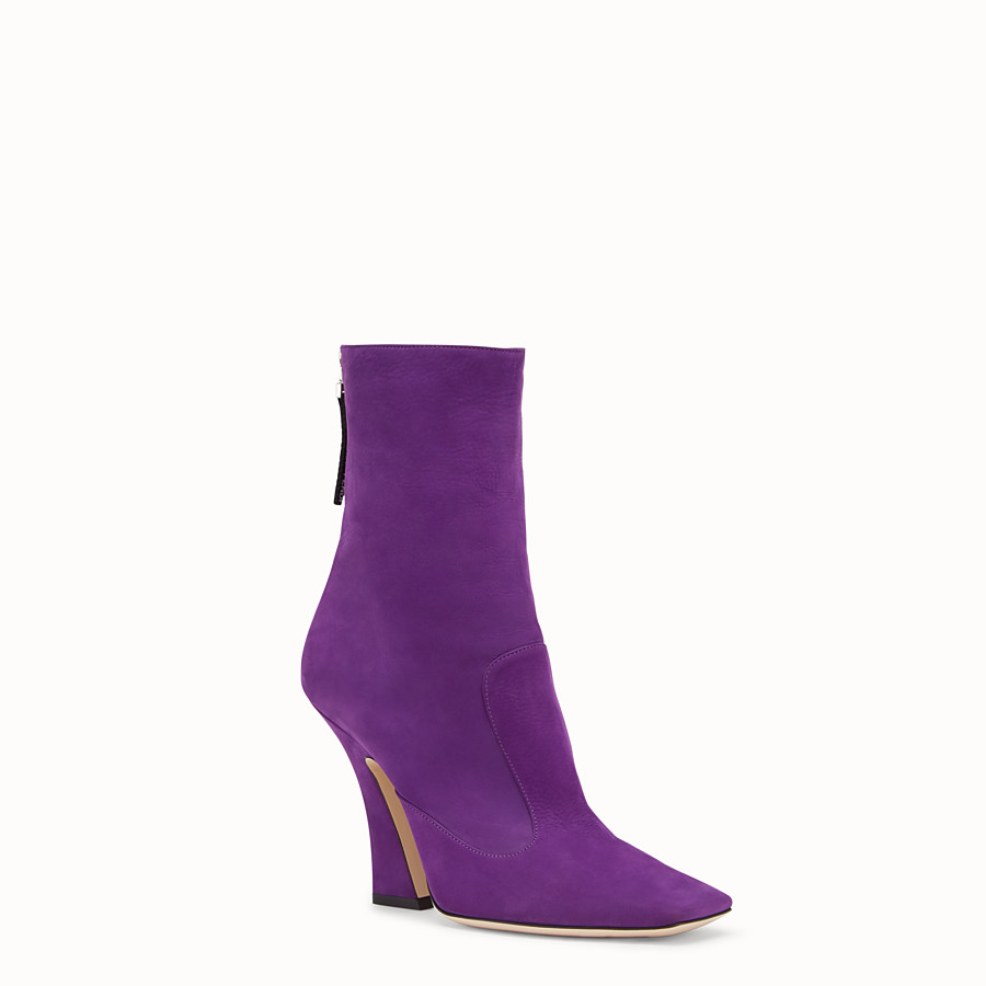FENDI BOOTS - Purple nubuck booties - view 2 detail