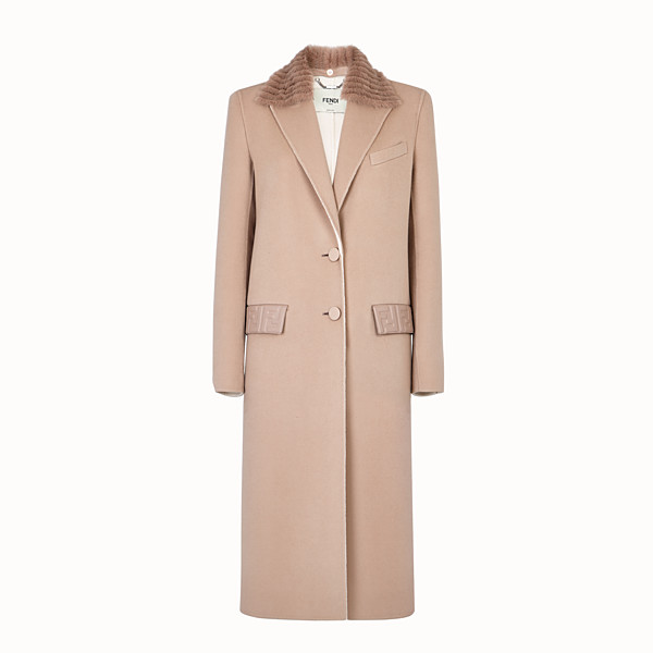 FENDI OVERCOAT - Beige cashmere coat - view 1 small thumbnail