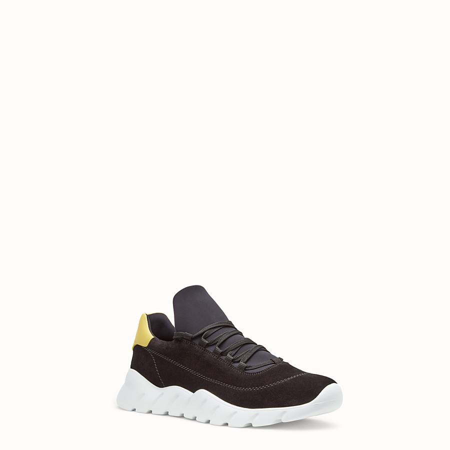 FENDI SNEAKERS - Chaussures basses en croûte de cuir noir - view 2 detail