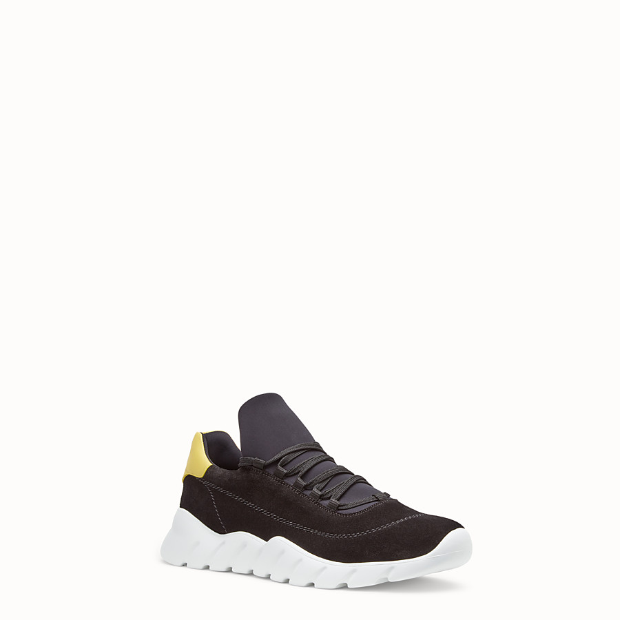FENDI SNEAKERS - Black split leather low-tops - view 2 detail