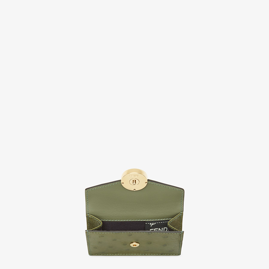 FENDI MICRO TRIFOLD - Wallet in green ostrich leather - view 3 detail