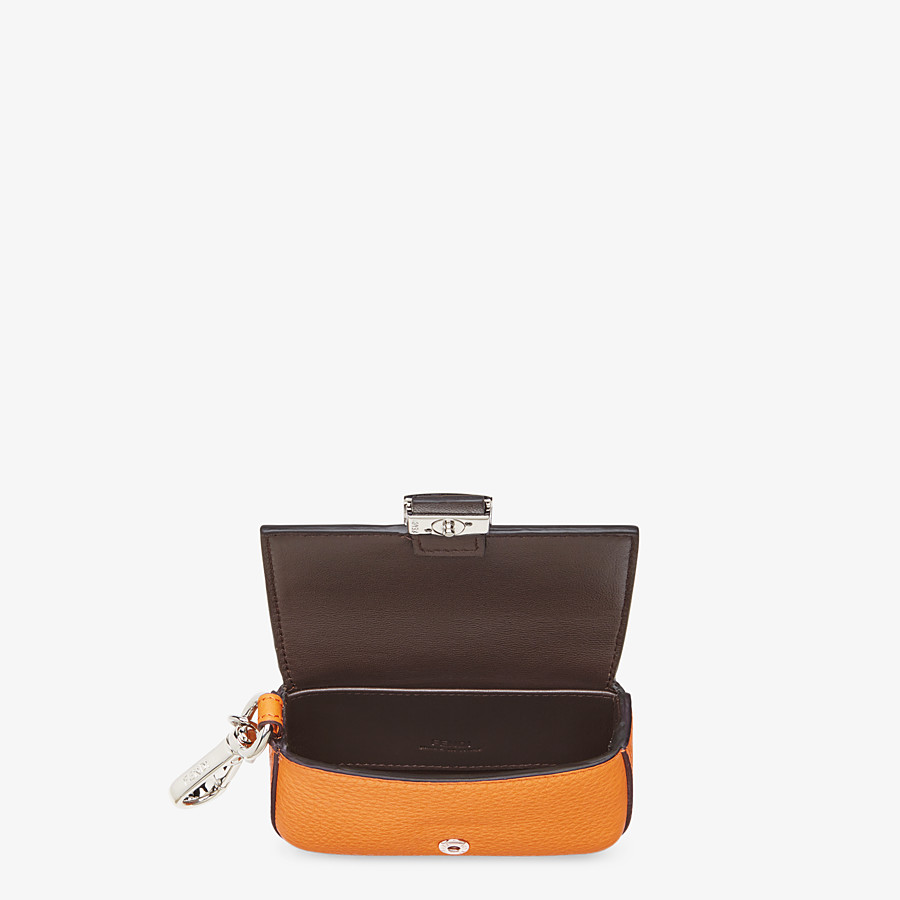 FENDI NANO BAGUETTE CHARM - Orange leather charm - view 3 detail
