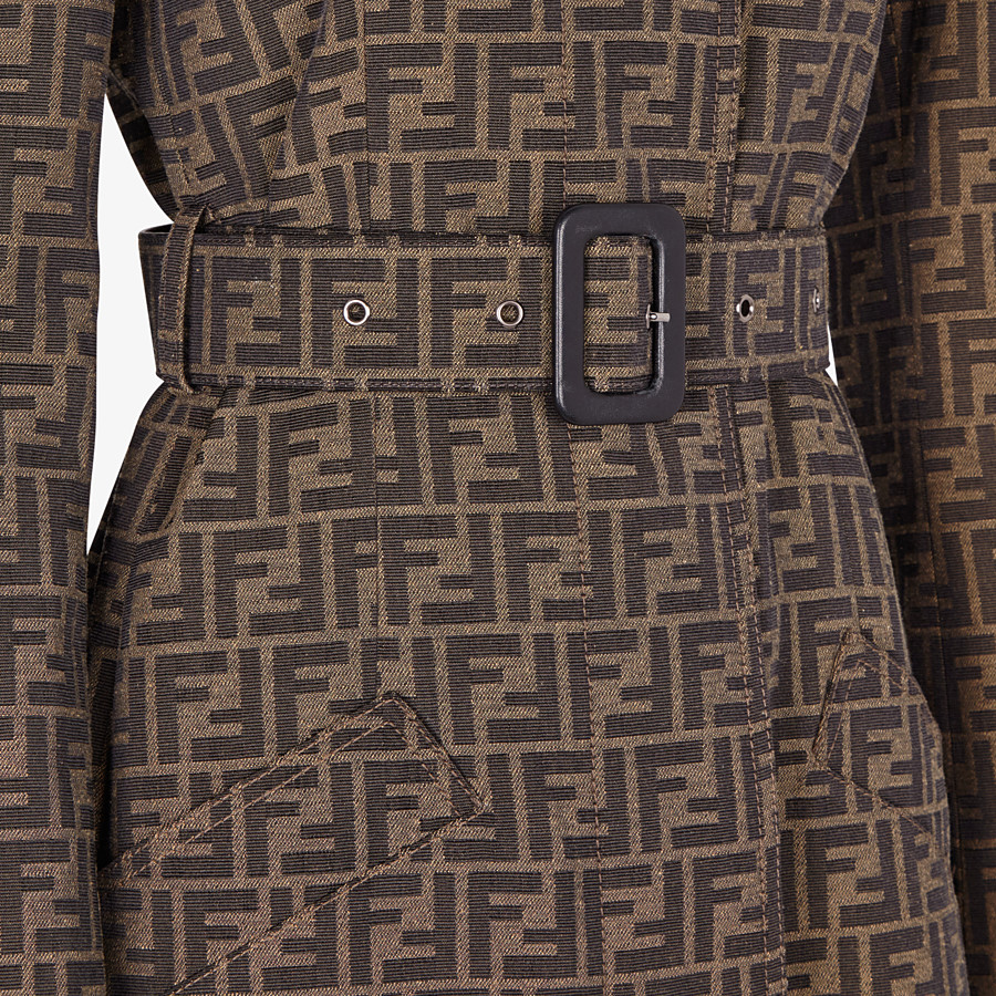 FENDI OVERCOAT - Brown canvas trench coat - view 3 detail