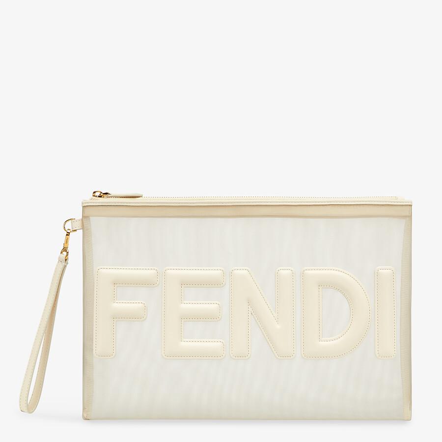 FENDI FLAT POUCH LARGE - White micro-mesh pouch - view 1 detail