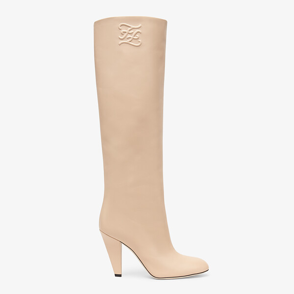 Pink leather, high-heeled boots