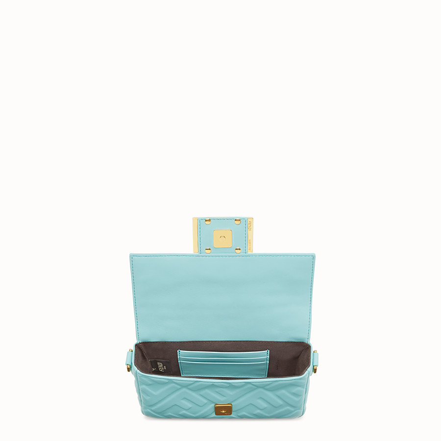 FENDI MINI BAGUETTE - Pale blue leather bag - view 5 detail