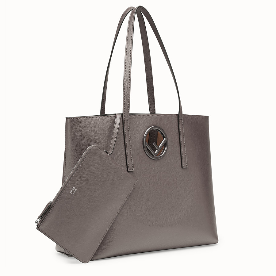 FENDI SHOPPER - Grey leather shopper - view 2 detail