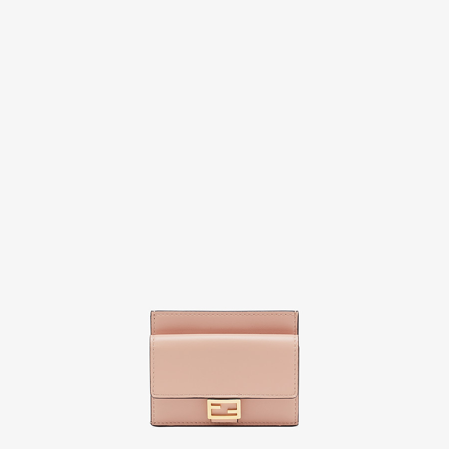 FENDI CARD HOLDER - Pink nappa leather cardholder - view 1 detail