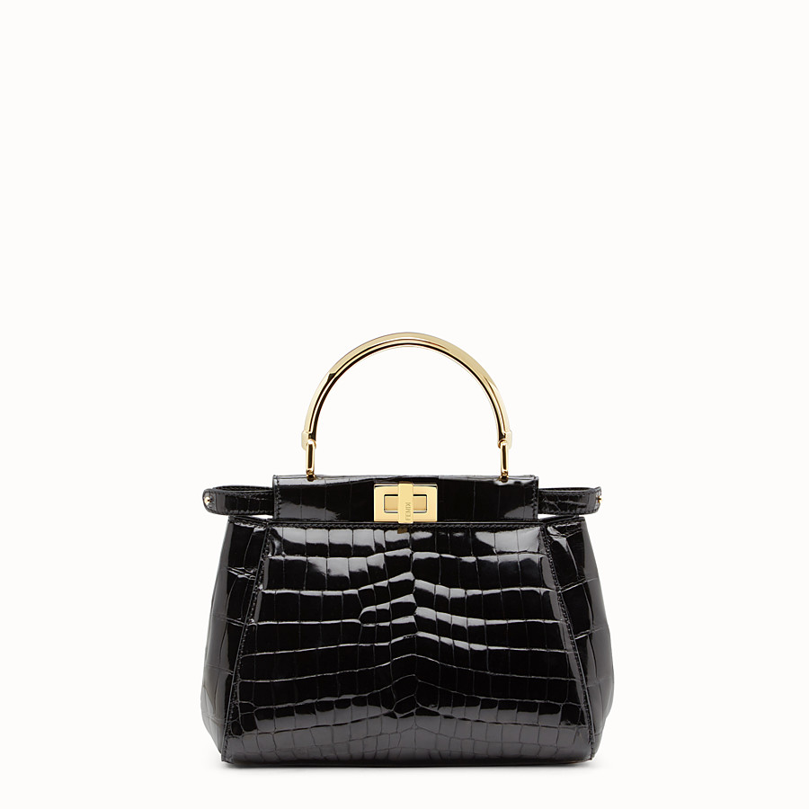 FENDI PEEKABOO MINI - Black crocodile leather handbag. - view 1 detail