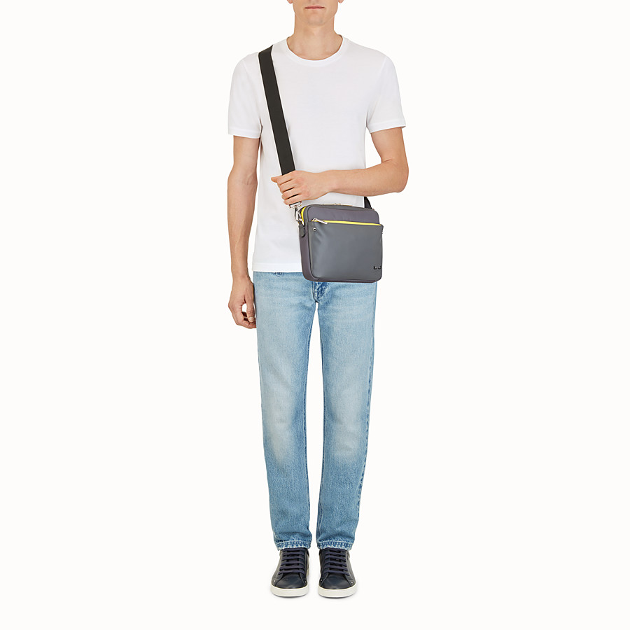 FENDI MESSENGER - Grey fabric and leather bag - view 5 detail
