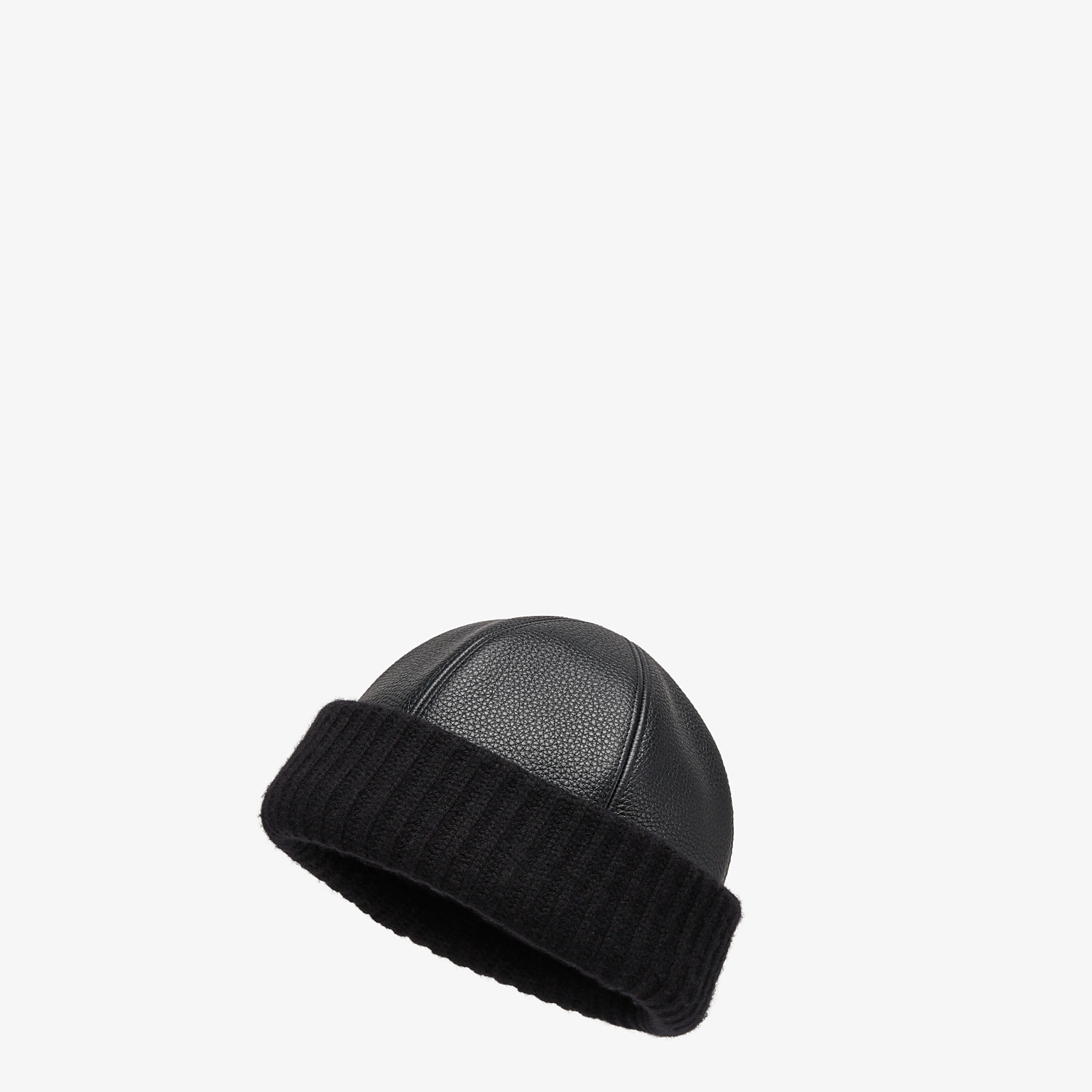 FENDI HAT - Black leather and cashmere beanie - view 1 detail