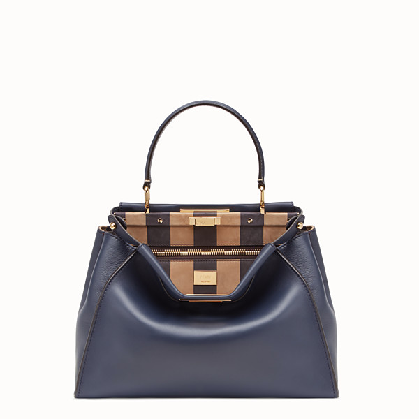 FENDI PEEKABOO ICONIC MEDIUM - Borsa in pelle blu - vista 1 thumbnail piccola