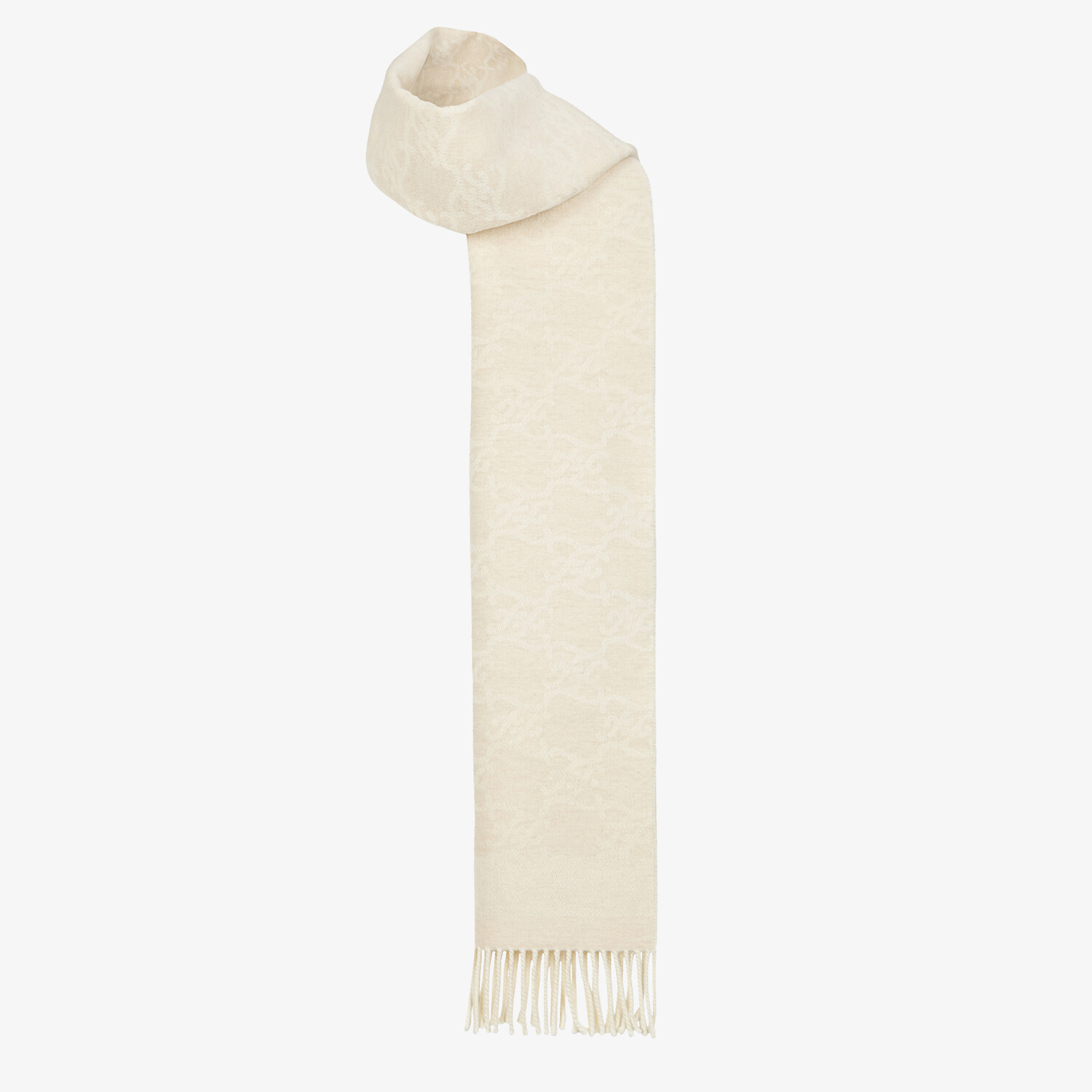 FENDI KARL SCARF - White wool and cashmere scarf - view 2 detail