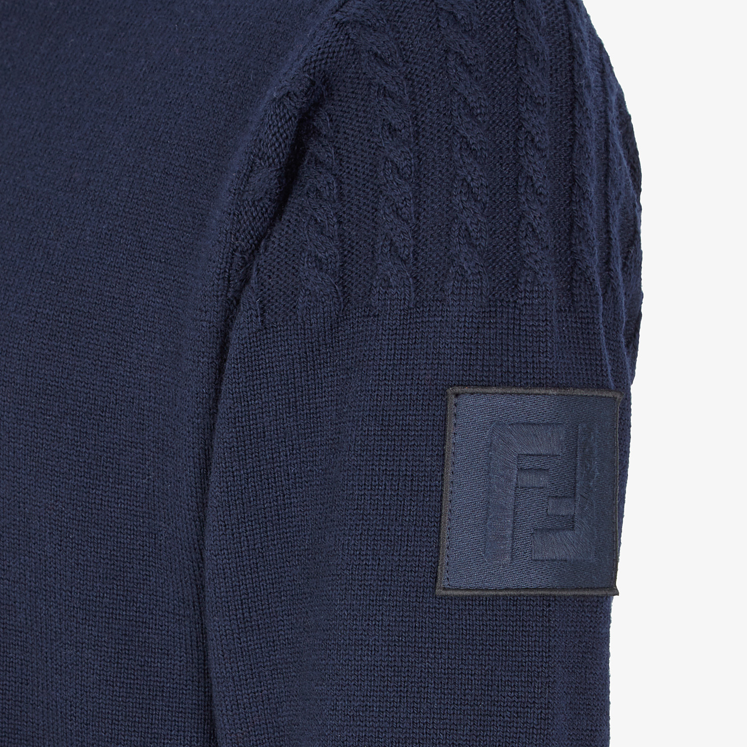 FENDI PULLOVER - Blue wool sweater - view 3 detail