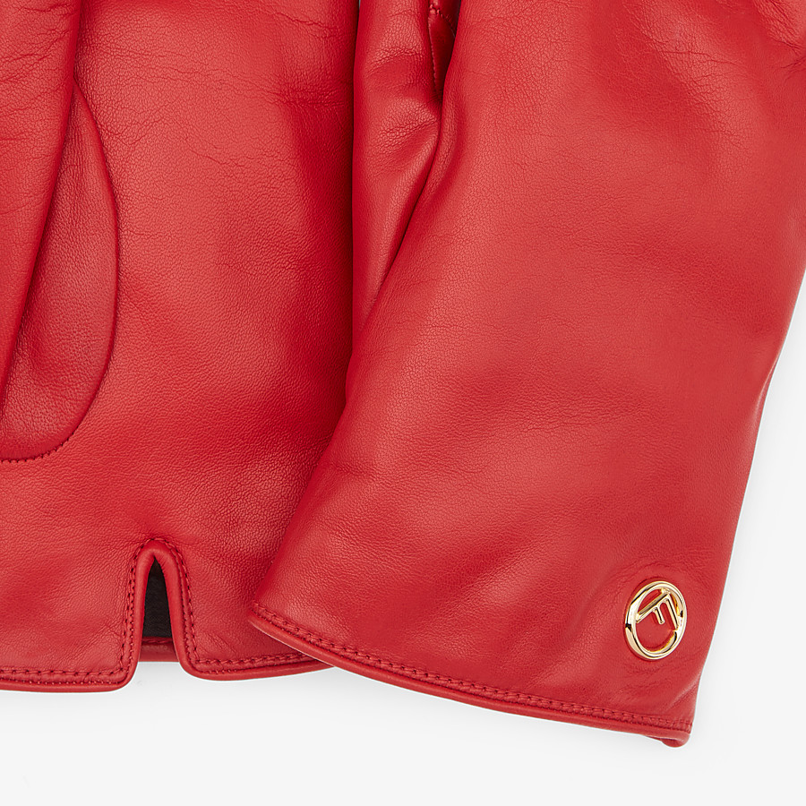 FENDI GLOVES - Red nappa leather gloves - view 2 detail