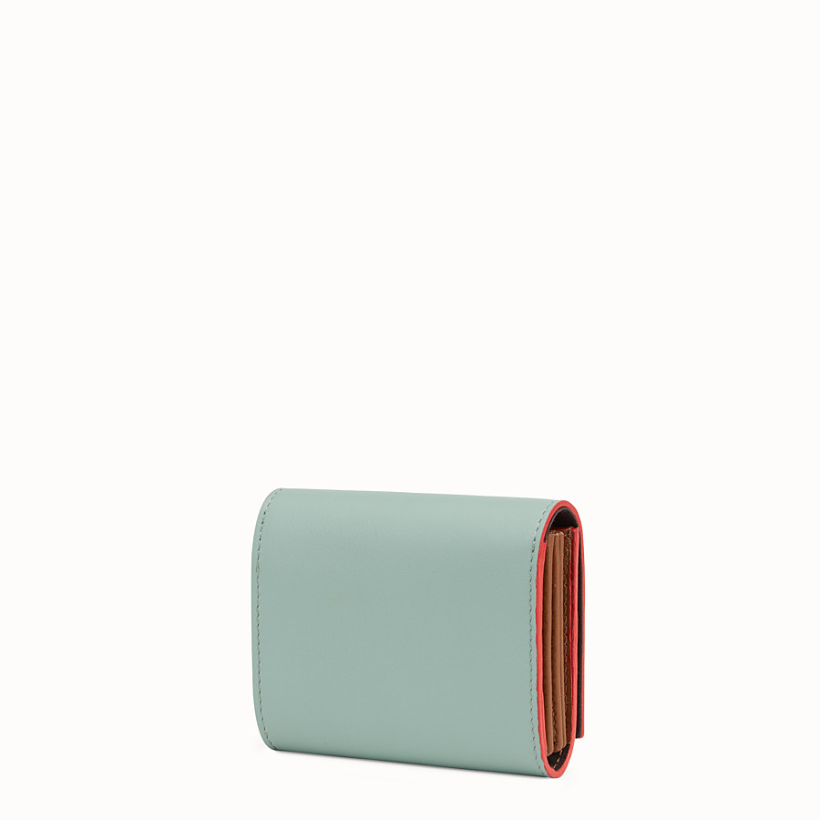 FENDI PEEKABOO CARD HOLDER - in mint green and brown leather - view 2 detail