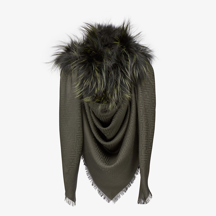 FENDI TOUCH OF FUR SHAWL - Shawl in silk, wool and fur - view 2 detail
