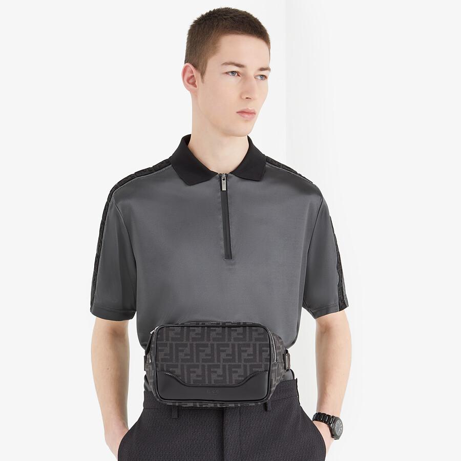 FENDI POLO SHIRT - Grey fabric polo shirt - view 4 detail