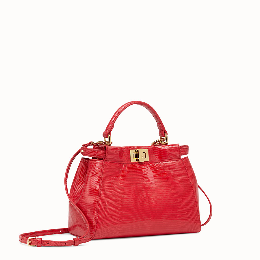 FENDI PEEKABOO MINI - Red lizard bag - view 2 detail