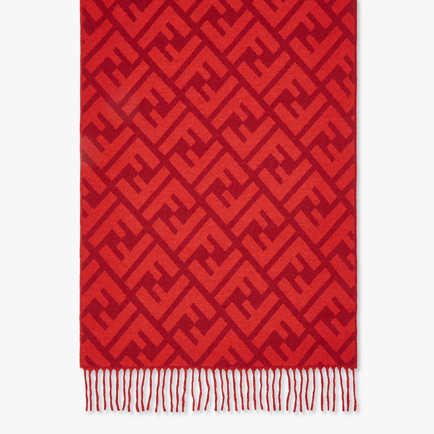 FENDI FF SCARF - Red cashmere scarf - view 1 detail