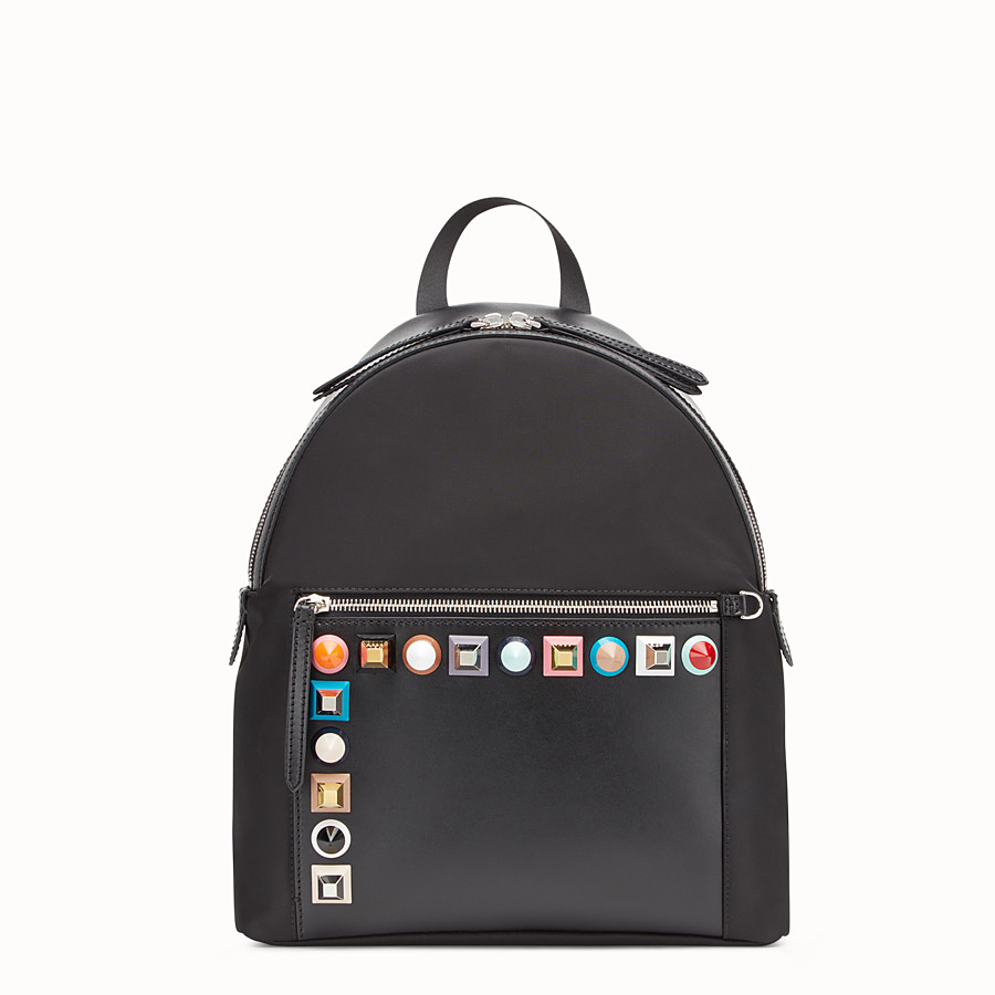 FENDI BACKPACK - Black fabric and leather backpack - view 1 detail