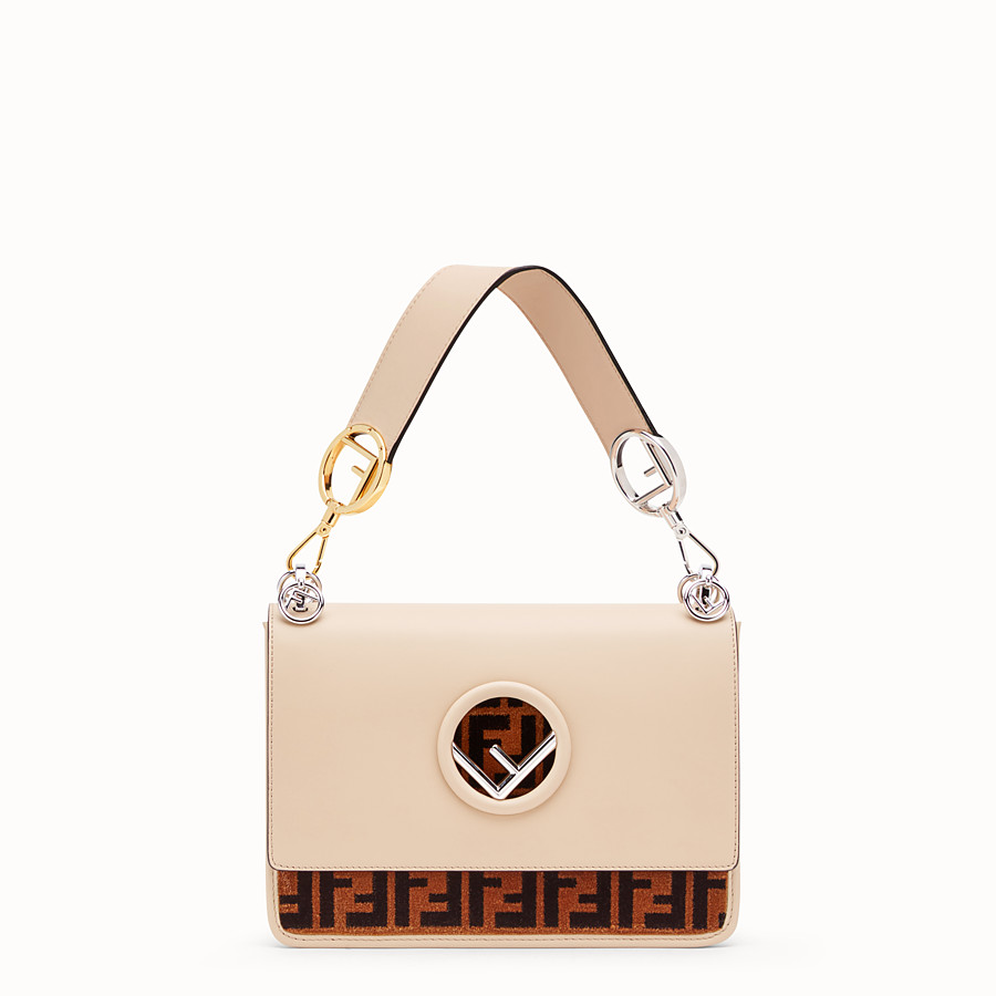 FENDI KAN I F - Beige leather and silk bag - view 1 detail