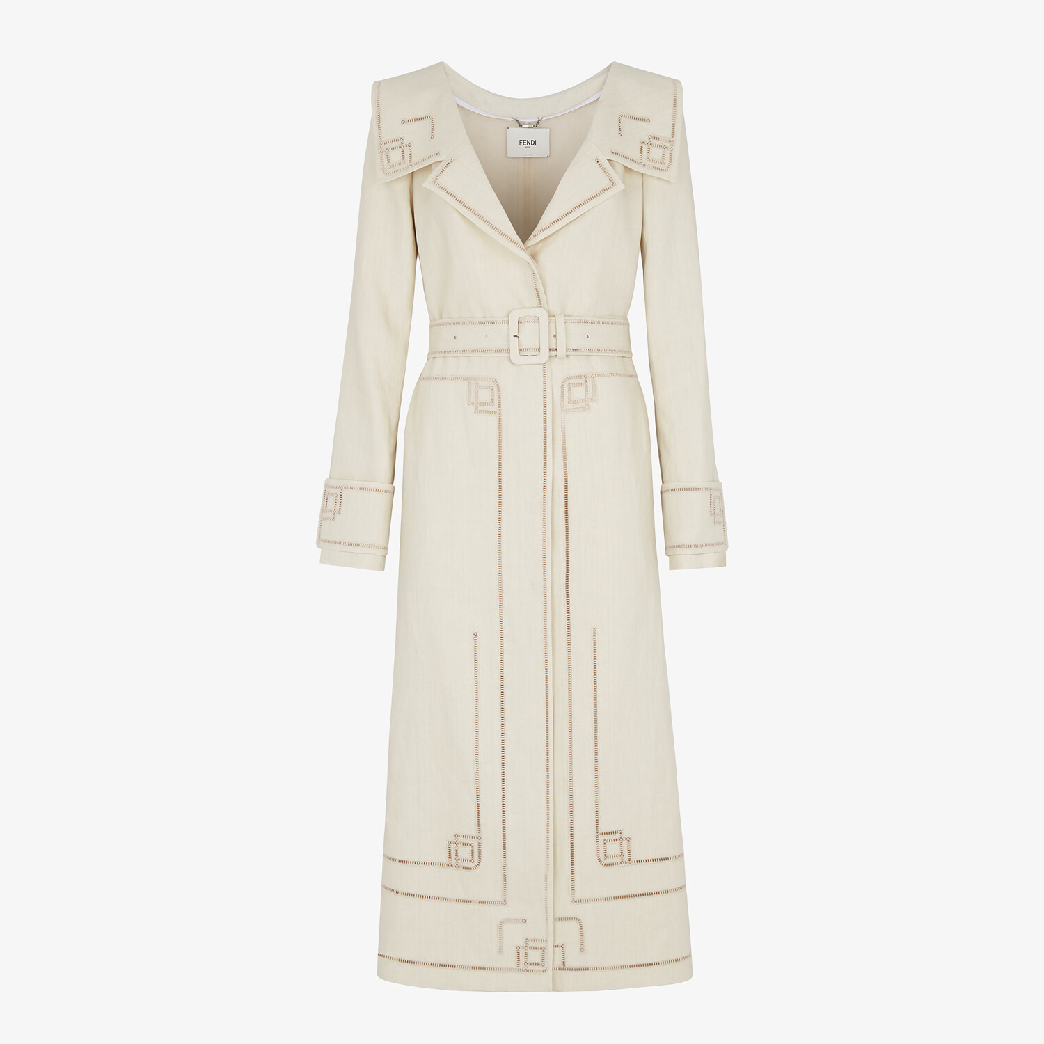FENDI OVERCOAT - Beige linen trench coat - view 1 detail