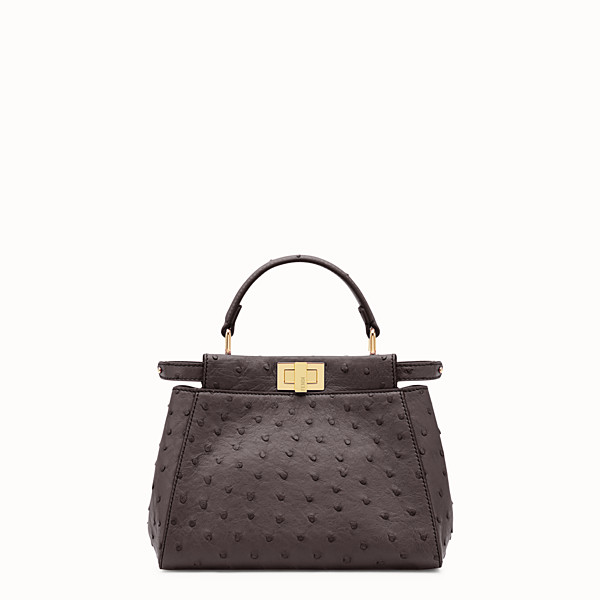 FENDI PEEKABOO ICONIC MINI - Borsa in pelle di struzzo marrone. - vista 1 thumbnail piccola