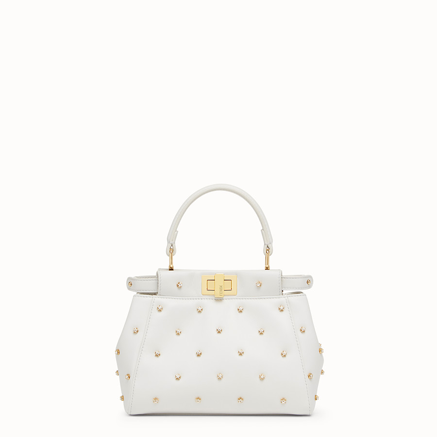 FENDI PEEKABOO XS - White leather mini-bag - view 1 detail
