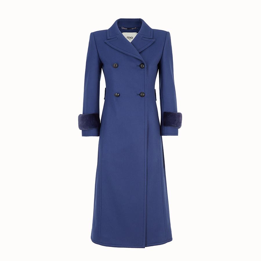 FENDI OVERCOAT - Blue wool overcoat - view 1 detail