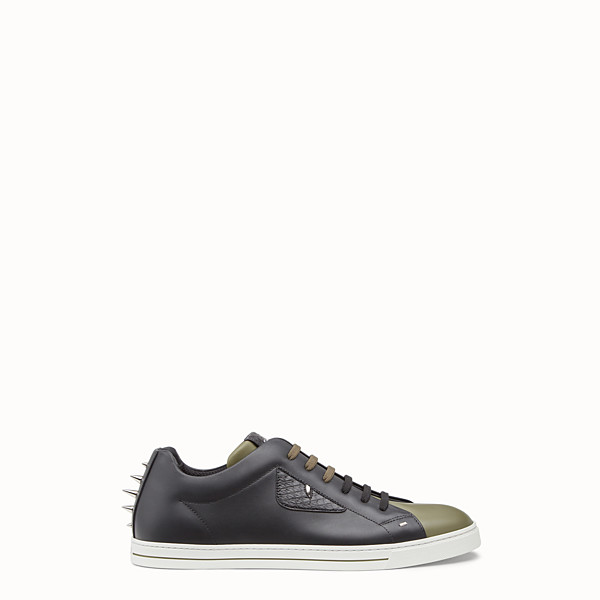 FENDI SNEAKERS - Two-tone leather and elaphe lace-ups - view 1 small thumbnail
