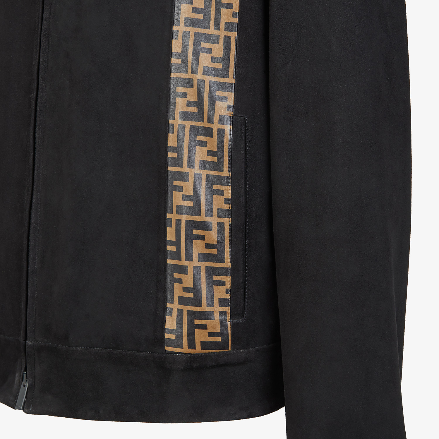 FENDI BIKER - Black suede jacket - view 3 detail