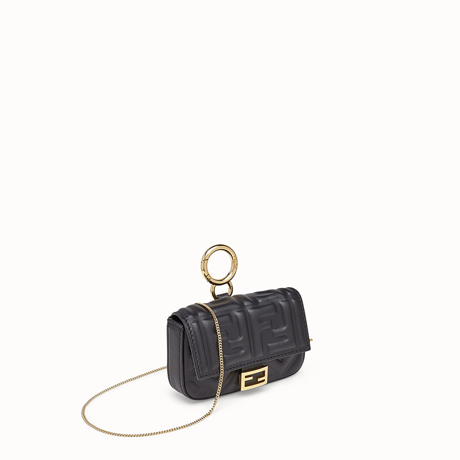 FENDI NANO BAGUETTE CHARM - Black nappa leather charm - view 3 detail